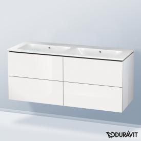 Duravit ME by Starck double washbasin with L-Cube vanity unit with 4 pull-out compartments white, with WonderGliss, without tap hole
