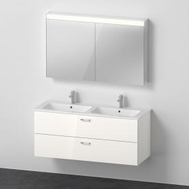 Duravit ME by Starck double washbasin with XBase vanity unit and LED mirror cabinet front white gloss / corpus white gloss