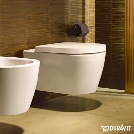 Duravit ME by Starck wall-mounted, washdown toilet rimless, matt white/white, with WonderGliss