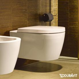 Duravit ME by Starck wall-mounted washdown toilet set, rimless, with toilet seat white, with WonderGliss