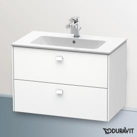 Duravit ME by Starck washbasin with Brioso vanity unit with 2 pull-out compartments white, with WonderGliss, with 1 tap hole