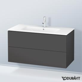 Duravit ME by Starck washbasin with L-Cube vanity unit with 2 pull-out compartments front matt graphite / corpus matt graphite, white, with WonderGliss, with 1 tap hole