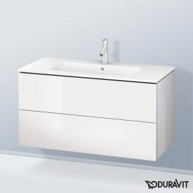Duravit ME by Starck washbasin with L-Cube vanity unit with 2 pull-out compartments front white high gloss / corpus white high gloss, white, with WonderGliss, with 1 tap hole