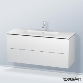 Duravit ME by Starck washbasin with L-Cube vanity unit with 2 pull-out compartments front matt white / corpus matt white, white, with WonderGliss, with 1 tap hole