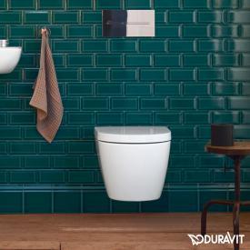 Duravit ME by Starck WC mural à fond creux Compact, sans bride, avec abattant WC blanc