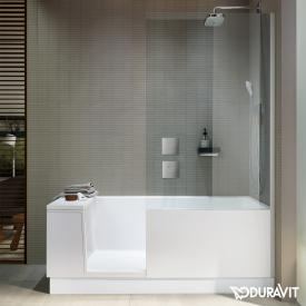 Duravit Shower + Bath rectangular bath with shower zone and panelling clear glass