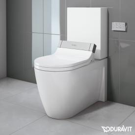 Duravit Starck 2 close-coupled, floorstanding washdown toilet with SensoWash® Starck e toilet seat, set white, with WonderGliss, cistern with right or left connection