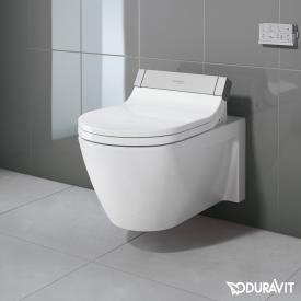 Duravit Starck 2 wall-mounted washdown toilet with SensoWash® Starck e toilet seat, set white, with WonderGliss