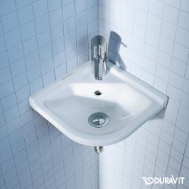 Duravit Starck 3 corner hand washbasin with WonderGliss, with 1 tap hole
