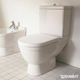Duravit Starck 3 floorstanding, close-coupled, washdown toilet white, with WonderGliss, vertical outlet