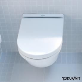 Duravit Starck 3 wall-mounted, compact washdown toilet white, with WonderGliss