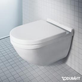 Duravit Starck 3 wall-mounted washdown toilet set, rimless, with toilet seat white