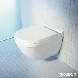 Duravit Starck 3 wall-mounted washdown toilet set, with toilet seat rimless, white, with WonderGliss