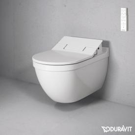 Duravit Starck 3 wall-mounted washdown toilet with NEW SensoWash® Slim toilet seat, set white, with WonderGliss