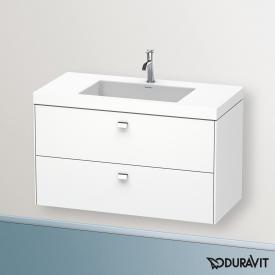 Duravit Vero Air washbasin with Brioso vanity unit with 2 pull-out compartments front matt white/corpus matt white, handle chrome