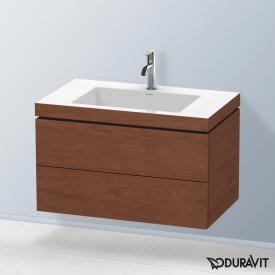 Duravit Vero Air washbasin with L-Cube vanity unit, wall-mounted with 2 pull-out compartments american walnut, without interior system, with 1 tap hole