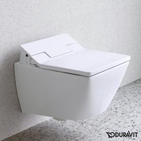 Duravit Viu wall-mounted, washdown, rimless toilet with SensoWash® Slim toilet seat, set white