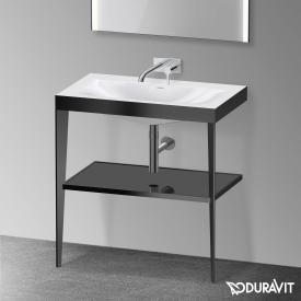 Duravit XViu vanity washbasin with metal console black high gloss/matt black