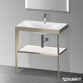 Duravit XViu vanity washbasin with metal console white high gloss/matt champagne
