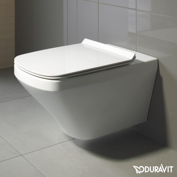 Duravit DuraStyle wall-mounted washdown toilet set, with toilet seat rimless, white