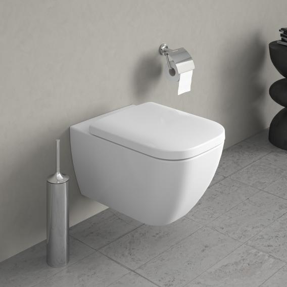 Duravit Happy D.2 wall-mounted, washdown toilet rimless, white, with WonderGliss