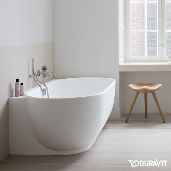 Duravit Luv compact bath with panelling without tap holes in the bath rim