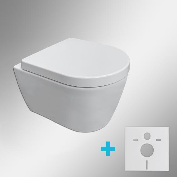 Duravit ME by Starck wall-mounted toilet & Tellkamp Premium 4000 toilet seat SET short: rimless toilet, with accessories white, with HygieneGlaze