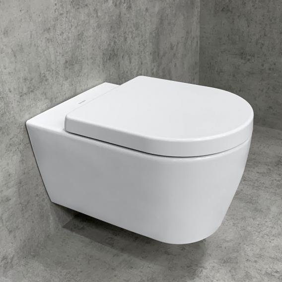 Duravit ME by Starck wall-mounted toilet & Tellkamp Premium 4000 toilet seat SET: rimless toilet white, with HygieneGlaze