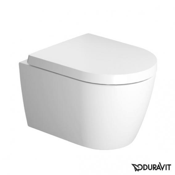 Duravit ME by Starck wall-mounted, washdown toilet, compact, rimless with seat white, with soft-close