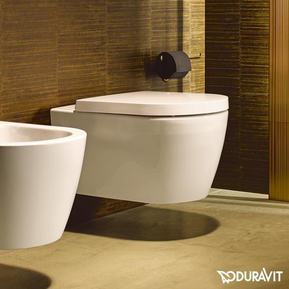 Duravit ME by Starck wall-mounted washdown toilet rimless, matt white, with WonderGliss
