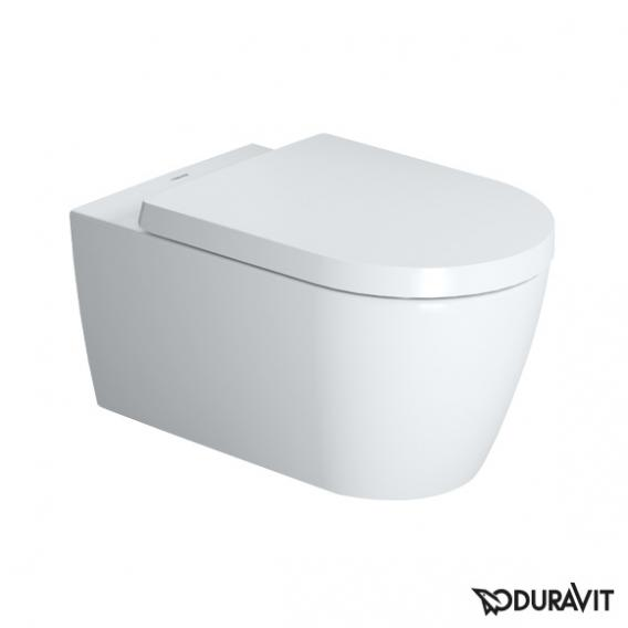 Duravit ME by Starck wall-mounted, washdown toilet rimless, white, with WonderGliss
