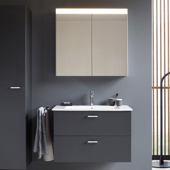 Duravit ME by Starck washbasin with XBase vanity unit and LED mirror cabinet front matt graphite / corpus matt graphite