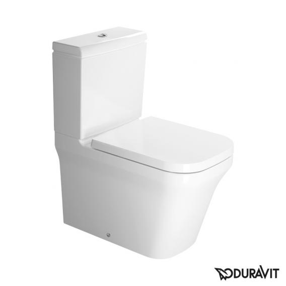Duravit P3 Comforts floor-standing, close-coupled, washdown toilet, rimless white, with WonderGliss