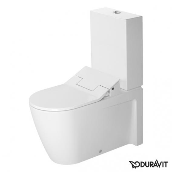 Duravit Starck 2 close-coupled, floorstanding washdown toilet with NEW SensoWash® Slim toilet seat, set white