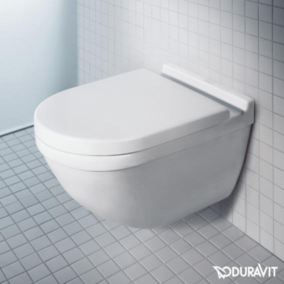 Duravit Starck 3 wall-mounted washdown toilet set, with toilet seat rimless, white