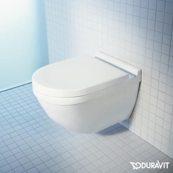 Duravit Starck 3 wall-mounted washdown toilet set, with toilet seat rimless, white, with WonderGliss