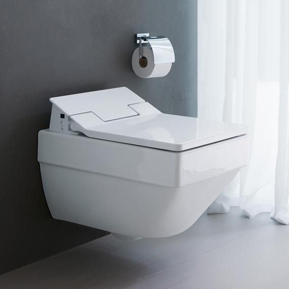 Duravit Vero Air wall-mounted, washdown toilet, rimless with toilet seat white, with WonderGliss