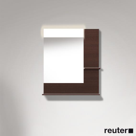 Duravit Vero mirror with LED lighting, shelf at the bottom & on the right dark chestnut