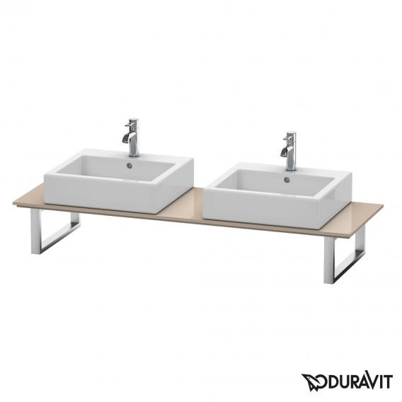 Duravit X-Large console back-to-wall version for 2 countertop/drop-in basins cappuccino high gloss