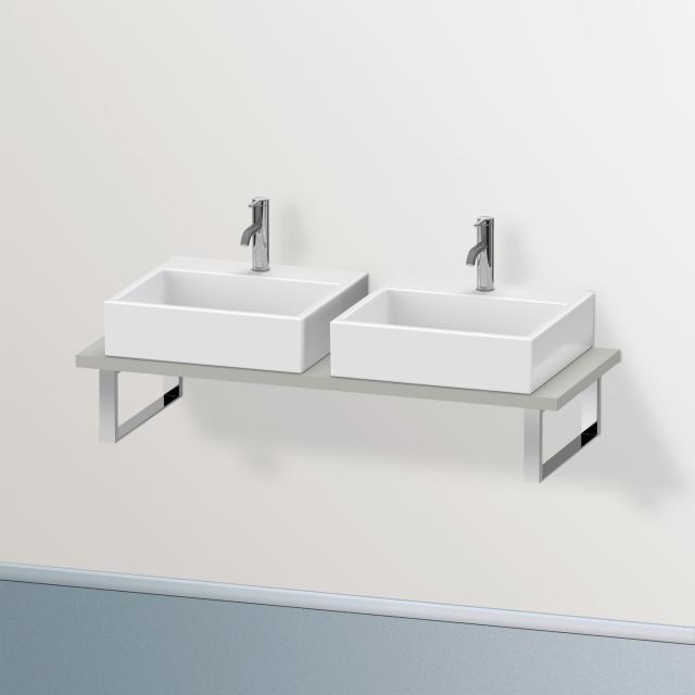 Duravit Brioso console for 2 countertop basins / drop-in basins matt concrete grey