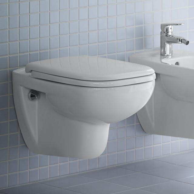 Duravit D-Code wall-mounted washdown toilet set, with toilet seat with flush rim, white