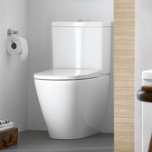 Duravit D-Neo close-coupled, floorstanding, washdown toilet, rimless white, with HygieneGlaze