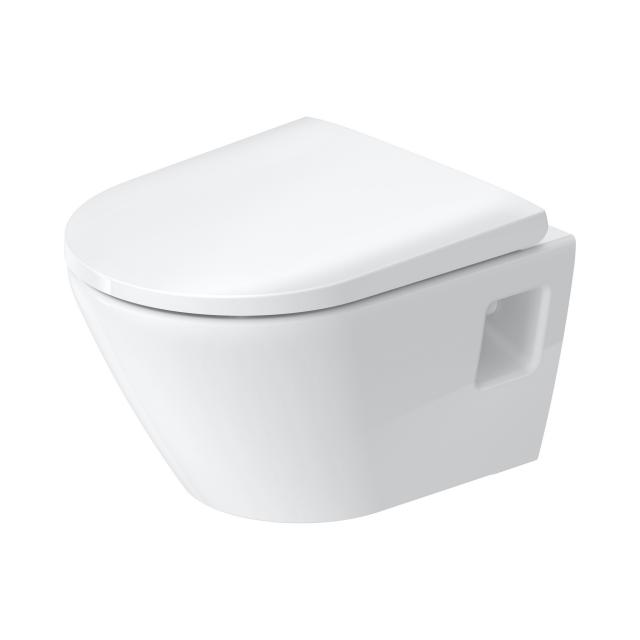 Duravit D-Neo wall-mounted, washdown toilet, compact, rimless, with toilet seat white, with HygieneGlaze