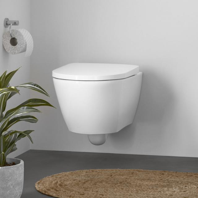 Duravit D-Neo wall-mounted, washdown toilet, rimless with toilet seat white, with WonderGliss