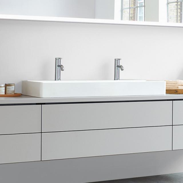 Duravit DuraSquare double washbasin white, with WonderGliss, with 2 tap holes, grounded