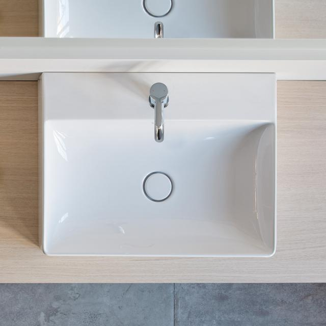 Duravit DuraSquare washbasin white, with WonderGliss, with 1 tap hole, grounded