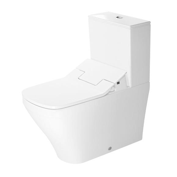 Duravit DuraStyle close-coupled, floorstanding washdown toilet with NEW SensoWash® Slim toilet seat, set white, with WonderGliss, cistern with right or left connection