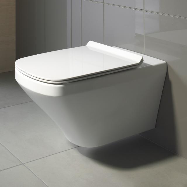 Duravit DuraStyle wall-mounted washdown toilet set, with toilet seat rimless, white, with WonderGliss