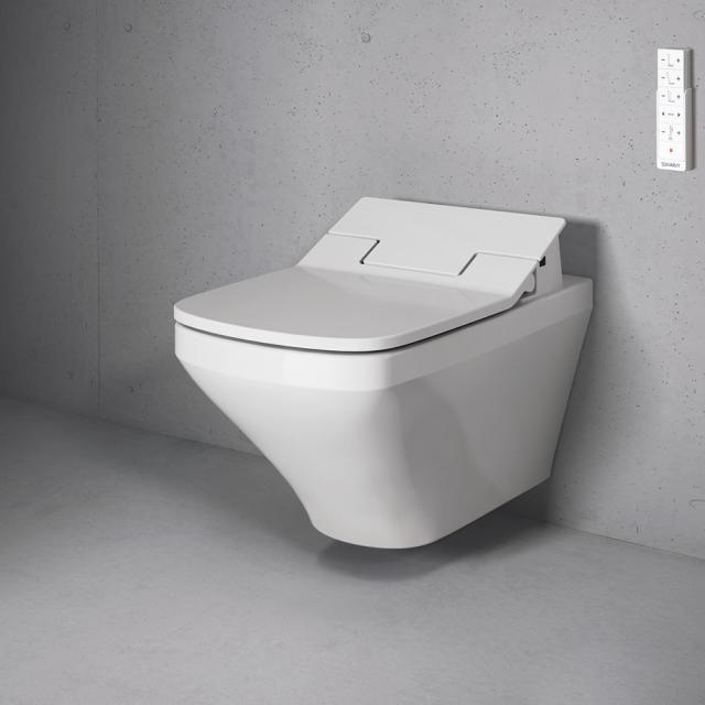 Duravit DuraStyle wall-mounted washdown toilet with NEW SensoWash® Slim toilet seat, set rimless, white, with WonderGliss