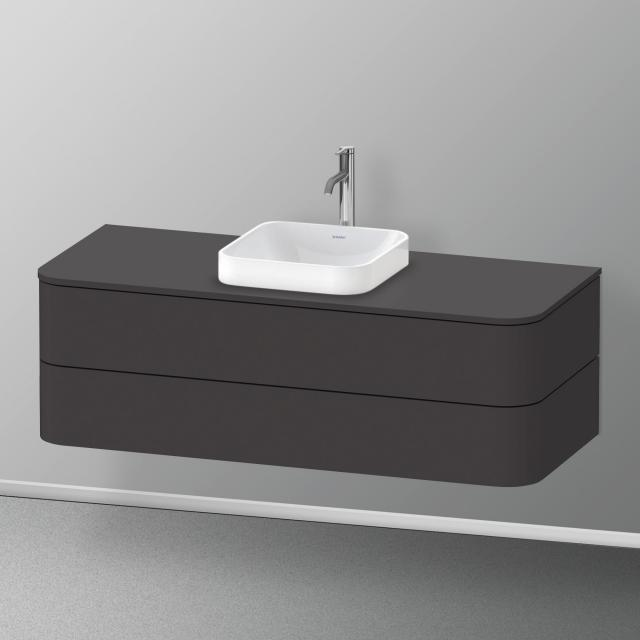 Duravit Happy D.2 Plus vanity unit for console with 2 pull-out compartments front super matt graphite / corpus super matt graphite, with interior system in walnut